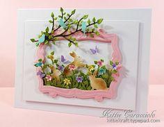 Framed Spring Flowers, Birds and Bunnies