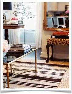 mirror, coffee tables, rug, bench, house interiors, stool, leopards, animal prints, house interior design