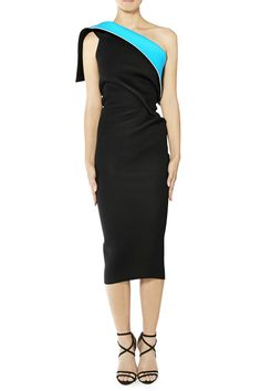 Optical Cocktail Dress - Black / Turquoise