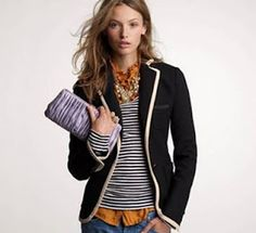 J Crew black with white trim outfit idea