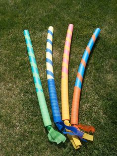 Pool Noodle Lances. You can pick up the noodles at the Dollar store. Decorate with colored duct tape.