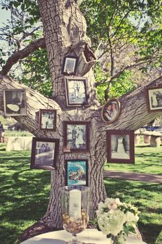 An amazing family tree idea at the wedding, an adorable way to recognize Those who have gone to heaven that you wish were there :)