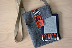 Scrappy Stripe Tablet Bag | Sew Mama Sew | by Sara of Radiant Home Studio - pair some quilting scraps with a solid fabric to make this shoulder sling tablet pouch.