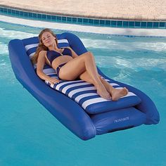 Deluxe Inflatable Lounger:  Our generously proportioned, extremely stable Deluxe Inflatable Lounger keeps you completely out of the water, so that you can enjoy a cool drink and a good book without getting wet. Two-piece design includes a smaller, removable float for optimal comfort and versatility.