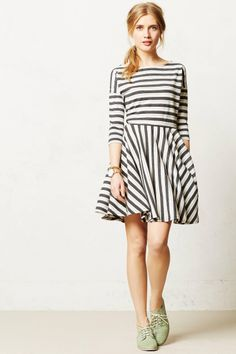 Pretty striped dress with dropped shoulders