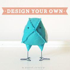 Design Your Own Vintage Fabric Bird, Nursery Home Decor Love Bird Wedding Cake Topper Softie - Made to Order. $35.00, via Etsy.