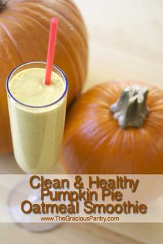 Pumpkin Pie Oatmeal Smoothie  2 cups plain, non-fat Greek yogurt  1/2 cup rolled oats  1 cup pumpkin puree (canned or homemade)  2 tsp. pumpkin pie spice  1/2 cup honey (you can use less. Just add to taste.)  2 tsp. vanilla extract  Ice, any amount you want  makes 6 cups  serving size = 1 cup, 146 calories