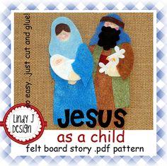 Jesus as a Child Bible Story Flannel/Felt Board .PDF Pattern