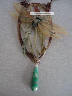 Elizabeth Bonte Art Nouveau 1920 ' S Horn Dragonfly Polished Bead Necklace Signed Art Nouveau photo