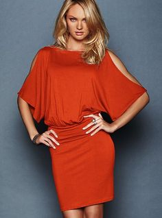 Blouson Dress from Victoria's Secret in orange.  Flirt the night away in a slinky, matte jersey dress with dramatic cutaway shoulders. Scrunch up the adjustable hem for an extra leggy look.