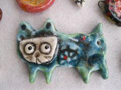 ceramic pendant, handmade, fired 5 times - Sunny Carvalho