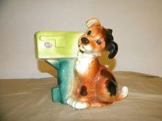 Royal Copley Ceramic Dog and Mailbox Planter