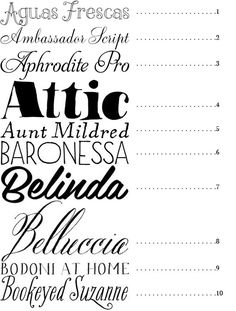 50 fancy fonts (most are not free, but they're beautiful for future reference)