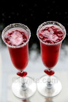 Sparkling pomegranate cocktail cocktail recipes, bebida, champagn cocktail, pomegran cocktail