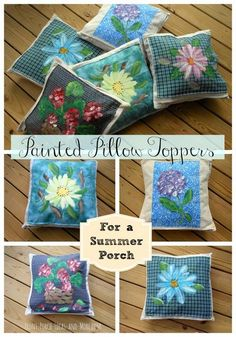 Bright and cheerful flower pillow toppers make it easy to change your pillows for the season. So much fun to do. Front-Porch-Ideas-and-More.com #pillowtoppers #frontporchideas #summerdecor
