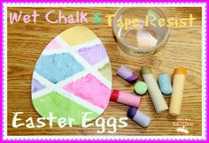 Wet Chalk Tape Resist Easter Egg Painting from Mom to 2 Posh Lil Divas