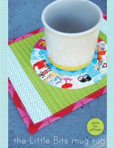 Green Bee Design & Patterns - free patterns - The Little Bits Mug Rug