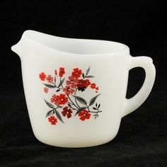 Fire King Glass Primrose Creamer Vintage Red Flower