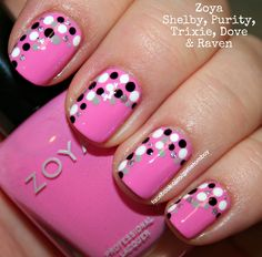 Pink nails with silver, grey, black and white dots nail art design