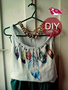 DIY INSPIRATIONAL IMAGE:  t-shirt idea, feather, fabric markers