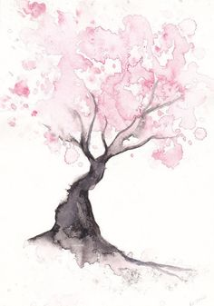 Watercolor tree..  As a tattoo. Different shades of green instead pink