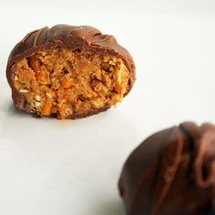 Peanut Butter Pretzel Truffles    ONLY need PB, pretzels & chocolate
