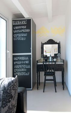 Love the type and the chalkboard doors.