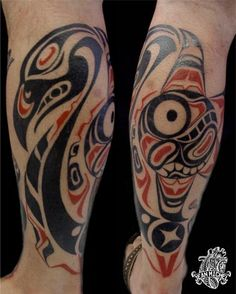 Here's another N.W. Native American tattoo that I like.  I love the red accent color in all of these tats.