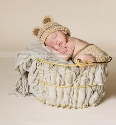 Toffee Bear Hat Diaper Cover Set Newborn Boy or Girl (Removable Bow) $34