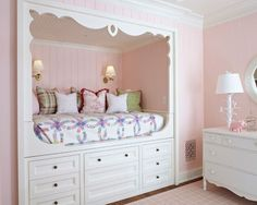 Save Space with this Beautiful Built-in Bed and Dresser.