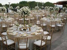 Ivory and gold wedding reception