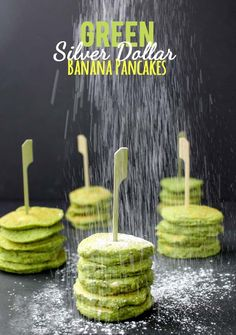 Green Silver Dollar Banana Pancakes. Perfect for St. Patrick's Day!   //   The Healthy Maven
