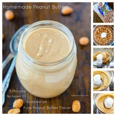 Homemade Peanut Butter in 5 minutes. Once you try pure fresh homemade PB you'll never go back to store bought - No oil, no salt, you can do this with almonds and pecans too. all yummy
