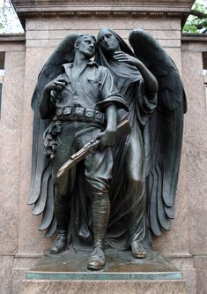 """""""World War One Memorial"""" (1921), By sculptor Henry Augustus Lukeman (1872-1935) and architect Arthur D. Pickering (1859-1923), Sculpted Bronze and Granite Exedra. Prospect Park, Brooklyn, New York, United States."""