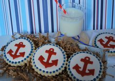 Red Anchor Decorated Sugar Cookies (12). $29.00, via Etsy.