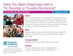 This is a research study at Cincinnati Children's to understand the relationship between genes and symptoms associated with Tourette Syndrome (TS), Tic Disorders and/or Obsessive Compulsive Disorder (OCD). Researchers also want to find out why some members of a family are affected with these disorders and other are not. Infants, children, teens and adults who are diagnosed with TS, chronic vocal or motor tics, and/or OCD may be eligible to participate.