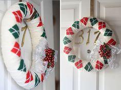 Yarn argyle christmas wreath