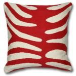 red and natural zebra pillow