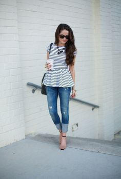 peplum, jeans & strappy shoes <3