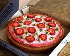 Pizza party birthday cake. Made with fresh fruit and white chocolate - yum!