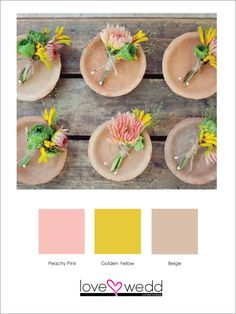 Pink, yellow, brown #color scheme #wedding