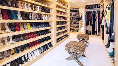 The Must-See Shoe Closet of Jimmy Choo's Founder// shoe closet, leopard stool, X Bench, walk-in closet, closet design