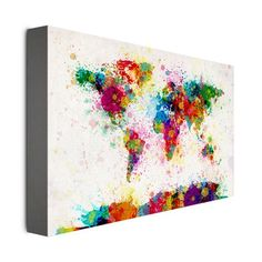 Paint Splashes World Map by Michael Tompsett - 16 x 24 in. | Find it at the Foundary