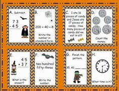 Halloween Task Cards for Second Grade--math center freebie--counting money, telling time, adding and subtracting with regrouping, word problems, patterns task cards, card freebi
