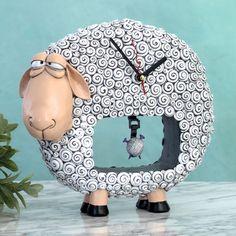 Sheep Clock with yarn ball pendulum