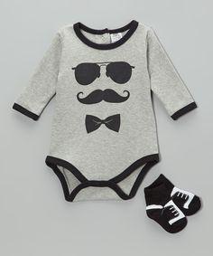 Mustache Bodysuit & Socks