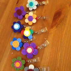 ID Badge Holder Flowers out of vial lids! Love! badge holders, fun craft, badg holder