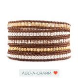 Cream Pearl Mix Wrap Bracelet on Natural Brown Leather  $215.00