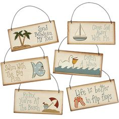 Beach sayings ornaments.