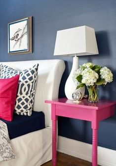 Pink and Navy bedroom inspiration, Pink and navy Room Ideas featured on Remodelaholic.com